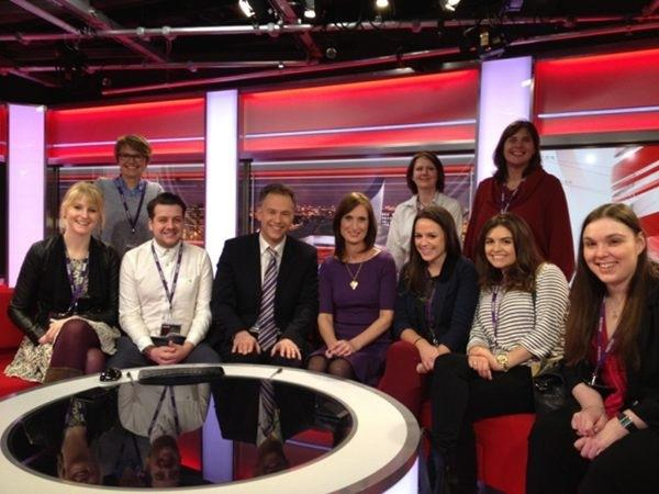 The post-grads with Roger and Annabel on the North West Tonight sofas last week.